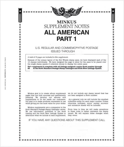2018 Minkus All American Part 1 Stamp Supplement (Regular & Commemorative  Postage) #MAA118 -New