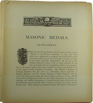 Masonic Medals supplement by W T R  Marvin